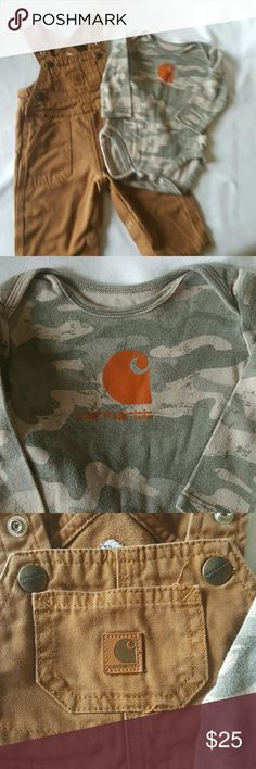 Car Hart Bibs and Shirt size 6 months Very good condition...gently used...free from flaws and stains...6 month size...have your infant son dress like daddy...2 piece set original color...shirt is long sleeved and camouflage in color and car Hart the emblem on front of shirt Carhartt Matching Sets