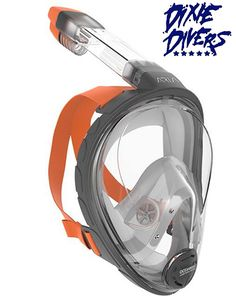 """A full-face snorkeling mask with a wide field of view for shallow freedives and surface snorkeling. Aria allows divers to breathe through their nose, while the """"dry top"""" prevents water from getting into the snorkel. Full Face Snorkel Mask, Breathing Underwater, Dive Mask, Scuba Diving Gear, Full Face Mask, Mask Design, Elba, Cousins, Helmets"""