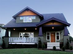 the Winslow- love the porch and stairs on this one. not the color scheme. Add about two feet out on the mud room and pantry.