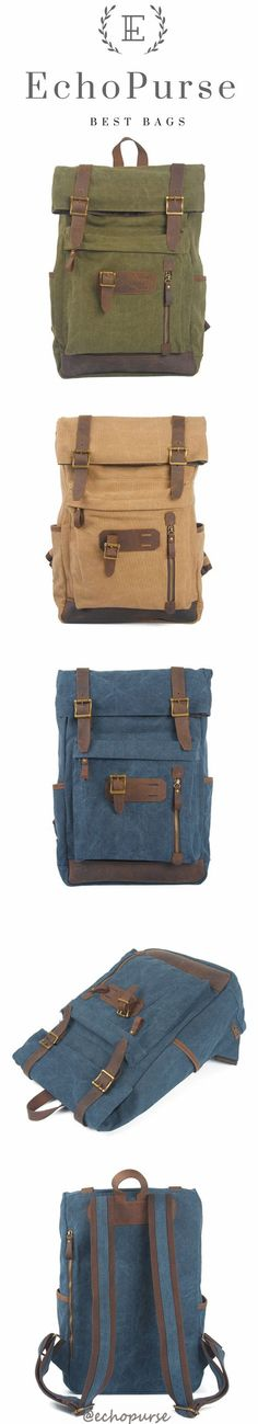 Vintage Canvas School Backpack, Green Unisex Knapsack 6896
