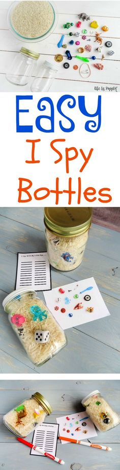 Making your own I Spy Bottles has never been easier! I have put together a step by step tutorial so that you can make your very own. These I Spy Bottles are perfect for road trips, quiet play, classrooms, busy bags and so much more. The best part is, you can make them for kids of all ages!   http://lifeispoppin.com/easy-i-spy-bottles-perfect-for-road-trips/