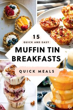 15 Quick and Easy Muffin Tin Breakfasts - Breakfast Recipes Breakfast And Brunch, Muffin Tin Breakfast, Healthy Breakfast Muffins, Breakfast On The Go, Easy Breakfast Food, Vegetarian Breakfast Recipes Easy, Breakfast Casserole Muffins, Breakfast Appetizers, Quick And Easy Breakfast