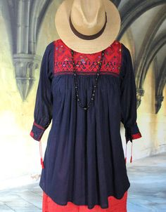 Navy Blue & Red Hand woven Blouse, Mayan Chiapas, Mexico Hippie Boho Cowgirl  #Handmade #blouse