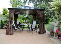 A gazebo with decking and the fencing always appears the great outdoor embellishment idea. You can opt this awesome gazebo idea to surprise your guest with your attractive beauty taste. Wedding Pergola, Patio Gazebo, Garden Gazebo, Pergola With Roof, Pergola Shade, Diy Pergola, Pergola Kits, Pergola Ideas, Backyard Patio
