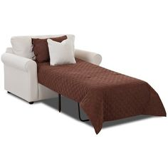 Perfect for hosting friends from out of town, this cotton-upholstered sleeper chair converts into a convenient bed for overnight guests. Sleeper Chair Bed, Armchair Bed, Sofa Bed, Daybed Room, Beds For Small Spaces, Mattress Springs, How To Make Bed, Bed Sizes, Living Room Chairs