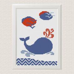 Whale cross stitch pattern Nautical baby cross stitch