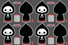 Smaller grim reaper cut and sew toy fabric by petitspixels on Spoonflower - custom fabric