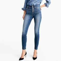 "9"" high-rise toothpick jean in Daly wash with button fly   search"