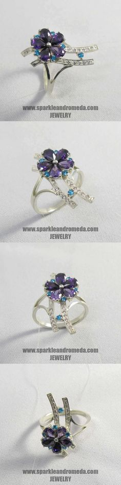 Sterling 925 silver ring with 5 pear mm violet amethyst color 6 round 2 mm blue zircon color and 12 round mm white color cubic zirconia gemstones. 925 Silver, Silver Rings, Amethyst Color, Blue Zircon, Pear, Sapphire, Gemstones, Earrings, Jewelry