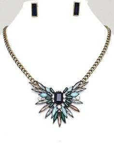 Jewel Crystal Statement Necklace Earrings Mint Blue Gold Fashion #Jewelry #Necklace #fashion #Style #Statement  #Mint #Gift #DailyDeal #Sale