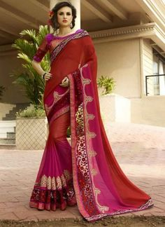 Dazzling Red Pink Shaded Georgette Designer Sarees