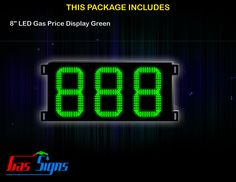 8 Inch 888 LED Gas Price Display Green with housing dimension H290mm x W492mm x D55mmand format 888 comes with complete set of Control Box, Power Cable, Signal Cable & 2 RF Remote Controls (Free remote controls).