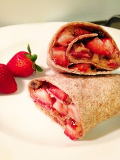 Love the taste of PB but want to try it in something other than just a regular PB?! Then Skinny Mom has the perfect article for you: 5 Twist on PBJ! Like the recipe pictured on the pin, Healthy PBJ Burrito with Strawberries! So good!
