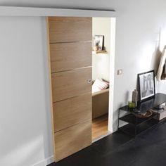 Système coulissant pour pose applique porte bois Oleni,Porte seule en chêne Samba 73cm