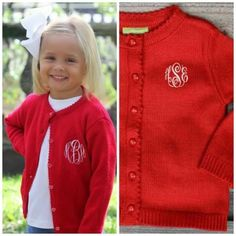 Red Button Up Cardigan Sweater with Monogram by Classic Whimsy, $27.99