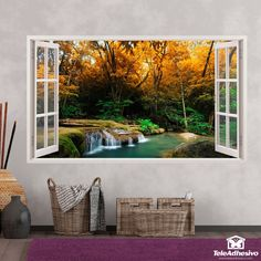 Compra adhesivos para pared con forma de ventana Faux Window, Happy Flowers, Bob Ross, Wall Murals, Sweet Home, Room Decor, Windows, Wallpaper, Dutch