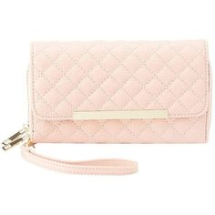 Charlotte Russe Quilted Double Zipper Wristlet Wallet ($4.89) ❤ liked on Polyvore featuring bags, wallets, blush, pink wristlet, double zipper wristlet, quilted wallet, wristlet wallet and quilted bag