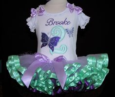 Birthday Tutu Outfit,   Butterfly Bright Purple and Mint Green   2 pieces Top and  Ribbon Trimmed Tutu Only  Butterfly Birthday theme by LittleKeikiBouTiki on Etsy