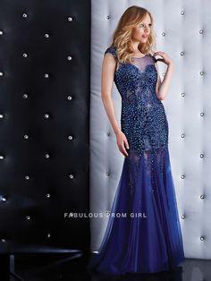 Sheath / Column Beading  Tulle  Prom Dresses / Evening Dresses