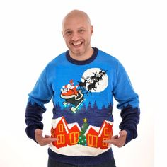 Kersttrui met licht Sleigh Ride voor mannen S Slee, Ugly Christmas Sweater, Ideas, Products, Thoughts, Beauty Products