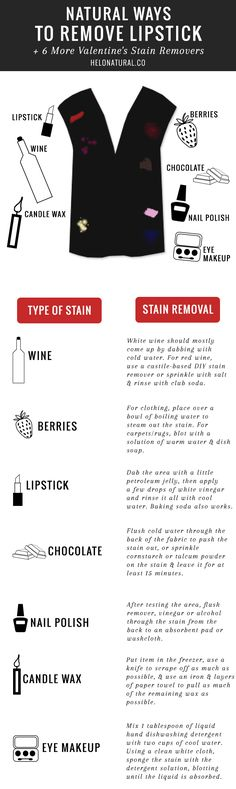 Natural Ways to Remove Lipstick   6 More Valentine's Stain Removers | http://hellonatural.co/natural-ways-to-remove-lipstick-6-more-valentines-stain-removers/