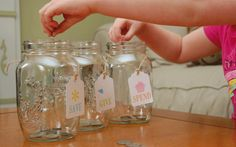 money management : Save, Give and Spend Jars - with free printable tags (by GoodGravy Designs)