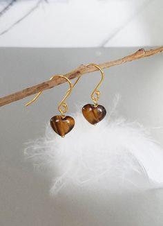 Tiny Heart Earrings - Tiger Eye Love Heart Earrings - Petite Drop Earring - Natural Stone Earrings - Gemstone Jewelry -Tiger Eye Jewelry