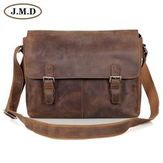 2917219085aa JMD Vintage Genuine Crazy Horse Leather Brown Leather Weekend Bag Shoulder Men s  Messenger Bag laptops   6002LR Free Shipping Wholesale Price + Coupon ...