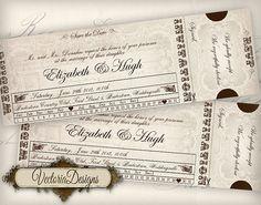 Custom Printable Wedding Invitation Ticket 8.75 by VectoriaDesigns, $19.90