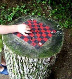 Tree stump painted chess checker board Dishfunctional Designs: The Upcycled Garden Volume 7: Using Recycled Salvaged Materials In Your Garden
