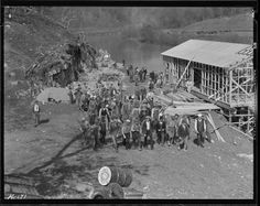 Workers returning from construction on the new bridge at Norris Dam site Tennessee Valley Authority, Smoky Mountains Cabins, History, Depression, Bridge, Construction, Painting, Building, Historia