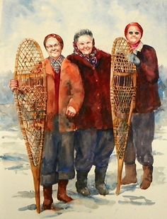 """Snowshoers"" - by Terrece Beesley ~  Watercolor"