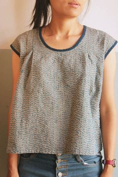 Sleeveless Top With Hand Stitched Pattern
