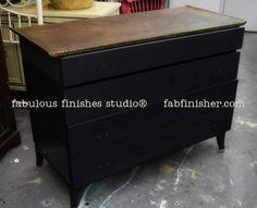 cottage paint bold black, with a cool metallic textured top  0 fabulous-finishes-studio-inspiration-painted-furniture-workshops-metro-detroit-diy-paints-shop-online0534