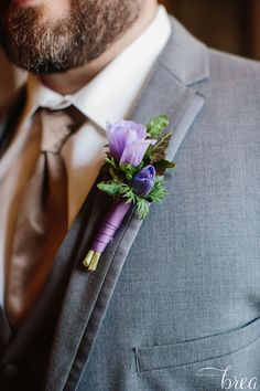 Lavender lisianthus and ivy boutonniere | The Cloisters in MD | Borrowed Blue Photography