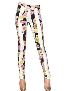 MSGM - FLOWER STRIPE STRETCH COTTON DRILL JEANS - LUISAVIAROMA - LUXURY SHOPPING WORLDWIDE SHIPPING - FLORENCE