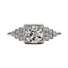 """Old European Cut Diamond Engagement Ring, 0.90ct J/VS1 old European cut diamond EGL certified and set in a platinum handcrafted """"Single Stone"""" mounting, USD 10,000"""