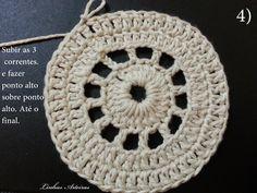 P.A.P (passo a passo) , do tapete; gente, faço parte de um grupo. E este tapete surgiu lá, por uma colega. A Cecília Rocha. Abrindo um parê... Crochet Placemats, Crochet Doilies, Crochet Hats, Yarn Over, Crochet Earrings, Knitting, Crafts, Jewelry, Doilies Crochet