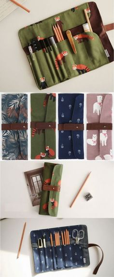 Canvas Roll Up Pen Pencil Case Wristwatch Case Universal Cable Cord Travel Organizer,Back to school will be more fun if you have a new pencil place. You can make your own DIY pencil case. You do not have to buy in the store to get it. Diy Crafts Pencil Case, Diy Pencil Case, Diy And Crafts Sewing, Sewing Diy, Artist Pencil Case, Sewing Case, Diy Bags For School, Diy Trousse, Roll Up Pencil Case