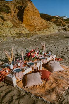 A Modern, Boho Micro-Wedding & Picnic Reception on the beach in Morro Bay, California. Designed & Styled by Santa Barbara Picnic Co. Beach Dinner, Beach Picnic, Summer Picnic, Picnic Date, Wedding Picnic, Wedding Beach, Wedding Dress, Picnic Decorations, Picnic Birthday