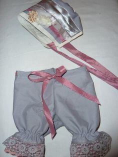 Pink and Grey Vintage Newborn Pantalon and Hat  by sewsueprops, $35.00