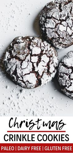 This paleo crinkle cookie recipe is rich, fudgy, and totally delicious. These holiday crinkle cookies are gluten free, paleo, and dairy free! Your friends and family will love them - they're perfect… More Chocolate Crackle Cookies, Chocolate Crinkles, Paleo Chocolate, Chocolate Recipes, Gluten Free Christmas Cookies, Gluten Free Gingerbread, Holiday Cookies, Paleo Cookies, Cookie Recipes