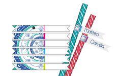 bandierine segna cannucce, straws flag conf. 12 pz estate, summer party, mare, sea, conchiglie, shell, festa in spiaggia, pic nic, beach blu, blue, verde acqua, aqua green, corallo coral