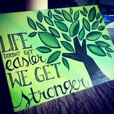Handmade painted quotes on canvas board (to represent the rooted theme)