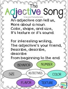 This is the Adjective Song to the tune of The Itsy Bitsy Spider. Using the tune of prominent songs allows students to understand the material much better. Kids learn these songs in Pre-K, and the songs are then associated with certain words, phrases, etc., as they get older. Popular nursery rhymes could be used when teaching parts of speech (as shown here), writing techniques, and countless other vital academic knowledge.