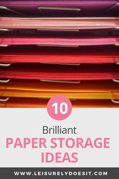Ready to get rid of paper clutter in your home? Whether it's craft paper you want to store or you need a filing system in your home office, these paper storage ideas can help. Organizing Paperwork, Linen Closet Organization, Paper Organization, Organizing Your Home, Organizing Tips, Office Organization, Cleaning Tips, Desk Paper Organizer, Craft Paper Storage