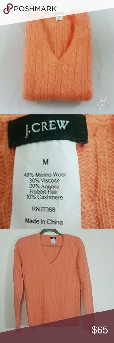 J Crew Cable Knit V Neck Sweater Cashmere Blend Thin and super comfortable! Perfect condition, no snags or holes. Salmon color. J. Crew Sweaters V-Necks