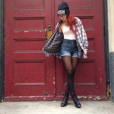 F A S H I O N U N I C O R N features Hot Kiss' High Waist Denim Shorts in this 90's-inspired blog post!  Shop our Hot Kiss High Waist Denim at Wetseal.com! #HotKissClothing #FirstKissClothing #HotKiss #FirstKiss #HotKissDenim #HighWaistedDenim #HighWaist #Denim #Shorts #Grunge #90s #Softgrunge #Trendy #Hipster #Punk #RedHair #FashionUnicorn #FashionBlogger #OOTD