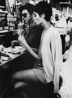 """""""Christy Turlington posing as Jean Seberg for Vogue Oct. 1990 