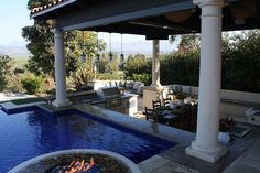 backyard lounge area with swimming pool